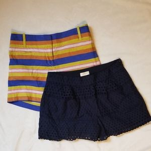 Loft & J. Crew striped and lace Shorts bundle